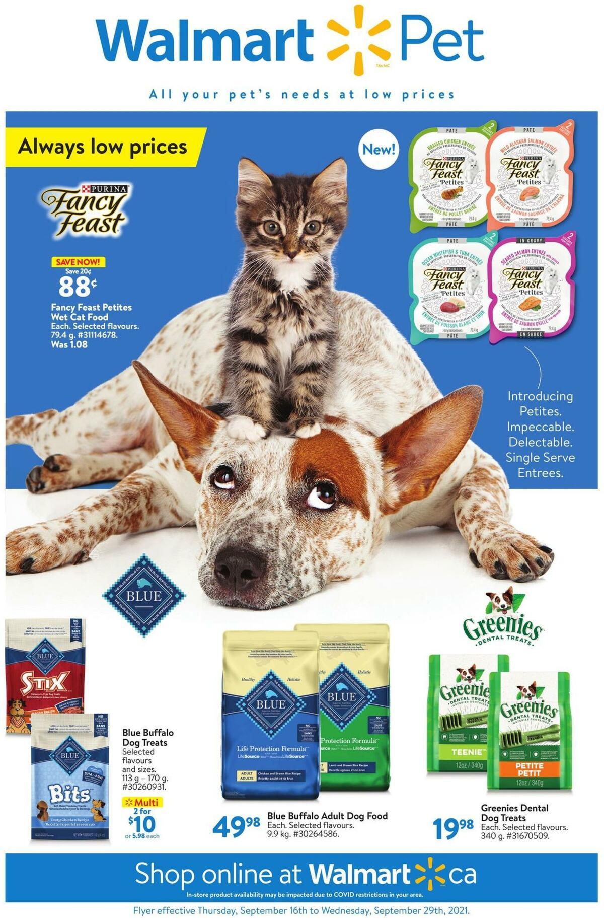 Walmart Pet Flyer from September 16